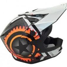 Casco Motocross Enduro Just1 J32 Moto X Blanco Naranja
