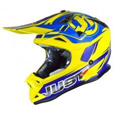 Casco Motocross Enduro Just1 J32 Pro Rave Azul Amarillo
