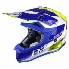 Casco Motocross Enduro Just1 J32 Pro Kick Blanco Azul Amarillo