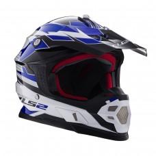 Casco Motocross 456 Factory Blanco Negro Azul L Ls2 Ls2404564826.L
