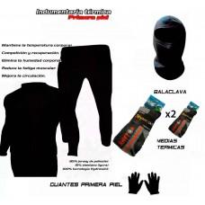 Conjunto Termico Moto Remera+Calza +Balaclava+Medias+Guante